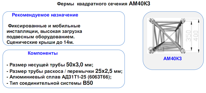 Фермы алюминиевые квадратного сечения АМ-40К3